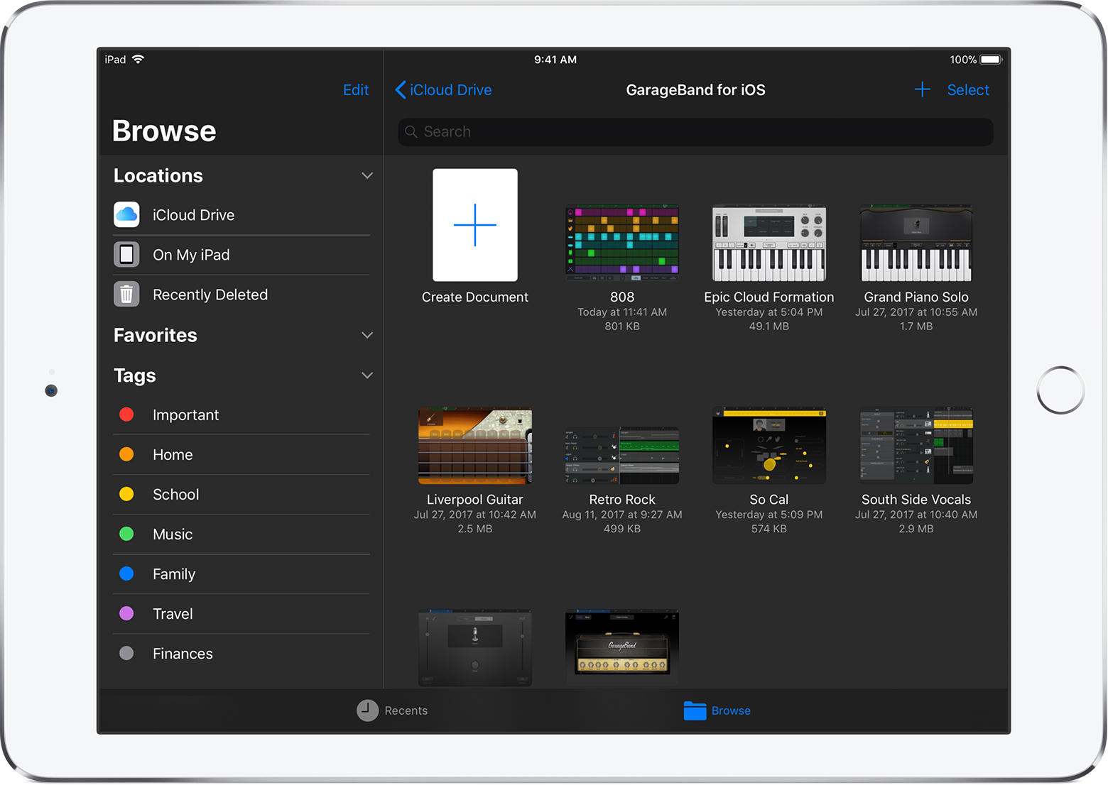 Browse Your Garageband For Ios Songs Apple Support