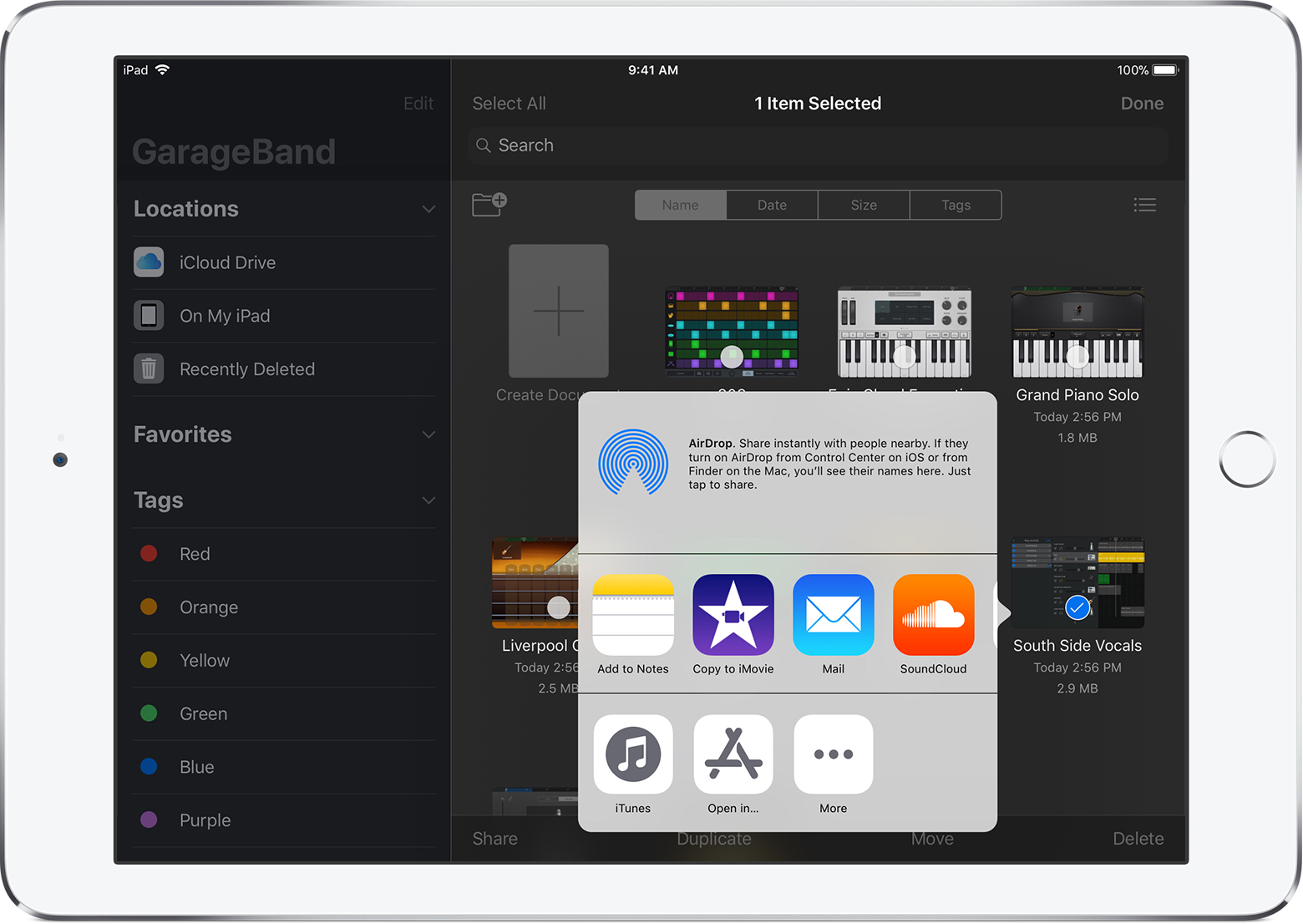 Share GarageBand for iOS songs or Music Memos to YouTube
