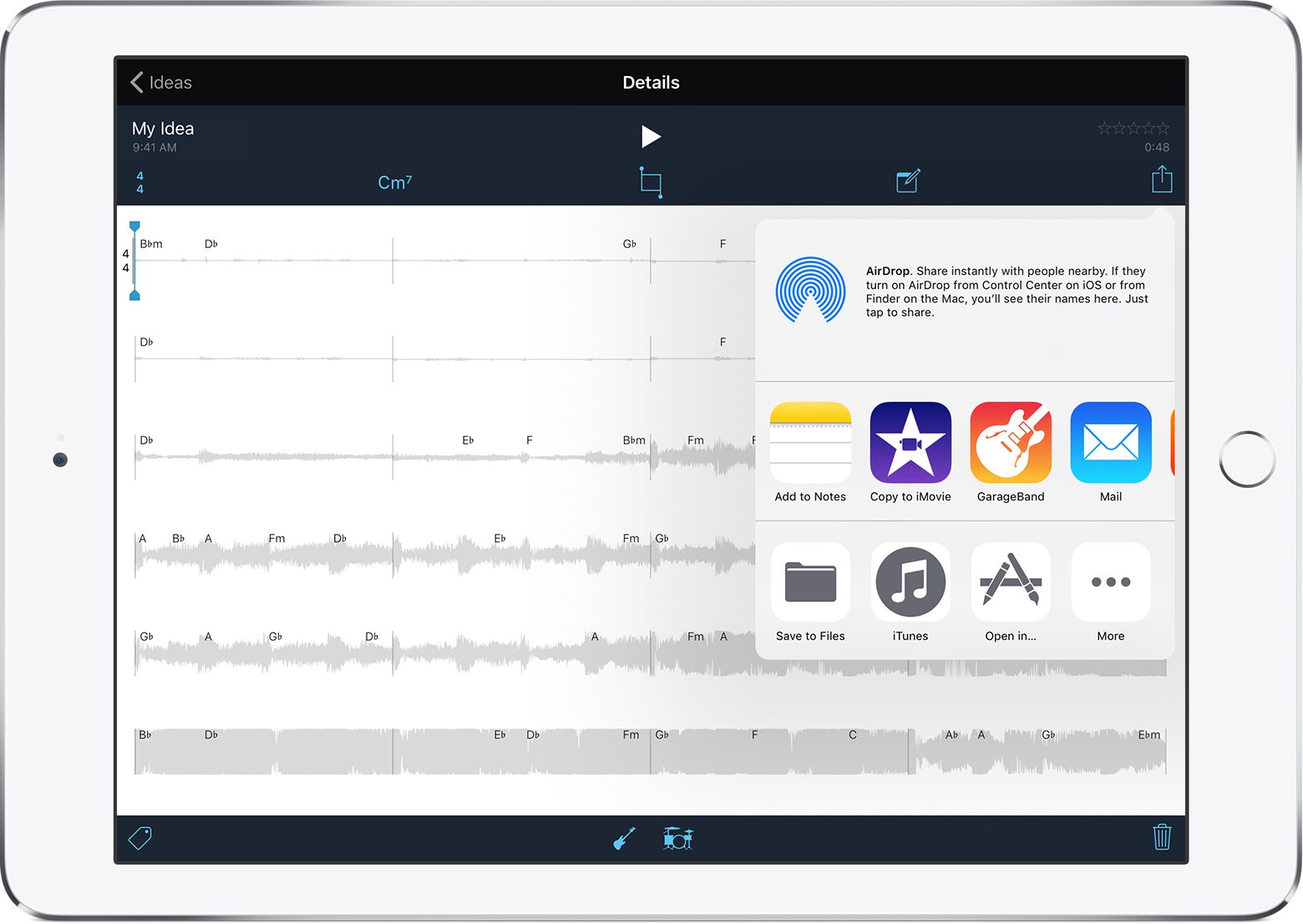 Share GarageBand for iOS songs or Music Memos to YouTube and
