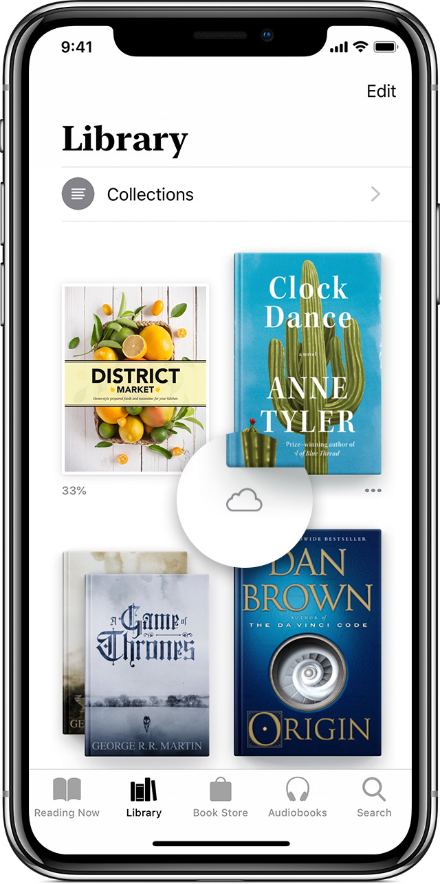 An iPhone X with Apple Books open to the Library tab and a callout on the cloud icon