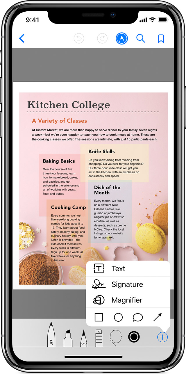 An iPhone X with the Apple Books app open to a PDF with the Markup menu active.