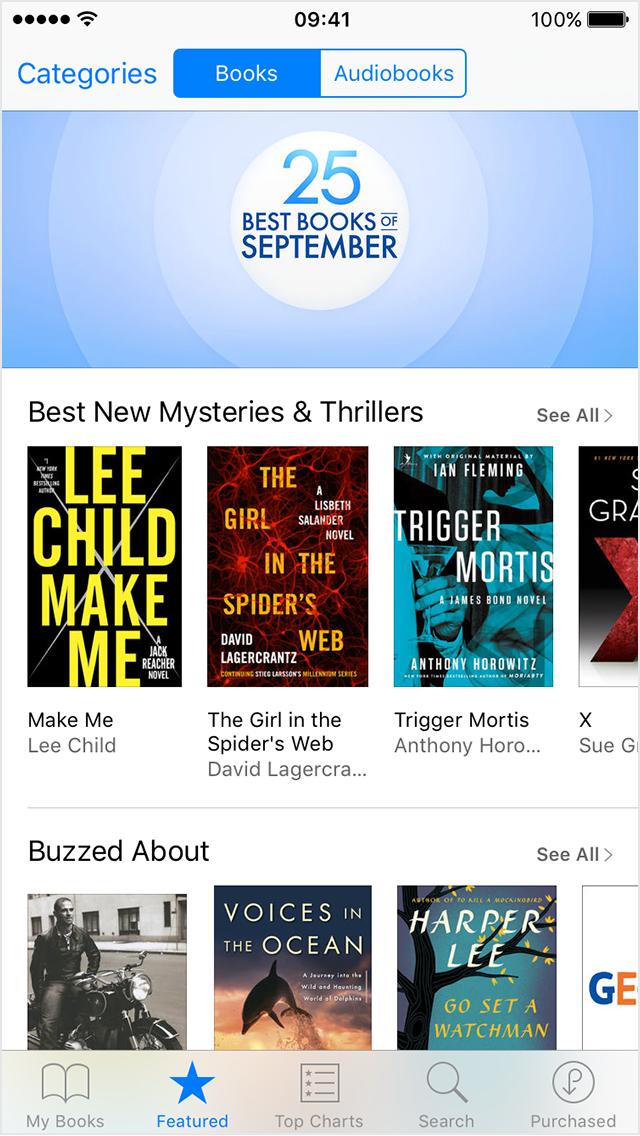 Presentación en iPhone de la librería con las obras adquiridas para iBooks