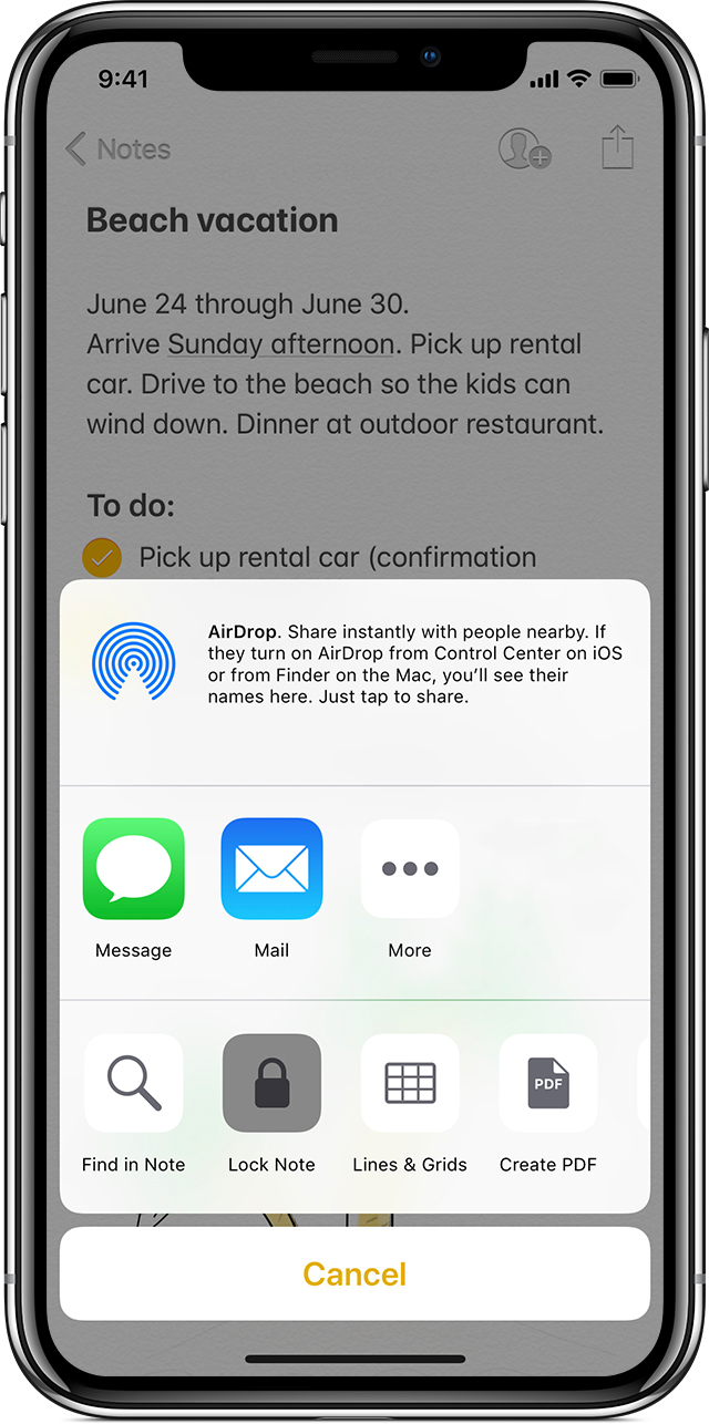 iPhone showing beach vacation note with AirDrop option