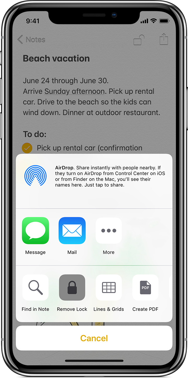 iPhone showing beach vacation note with AirDrop prompt