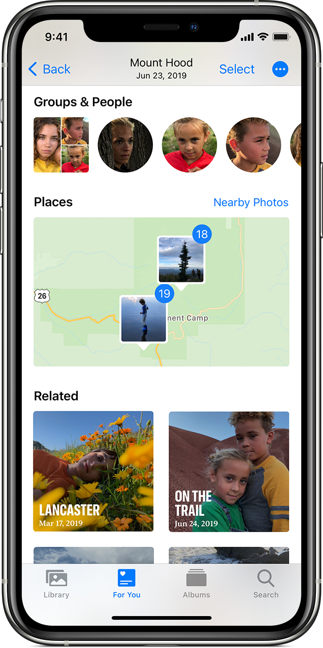 iPhone showing a Memory open to show People, Places, and Related Memories