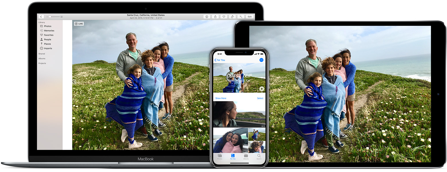 la app Fotos en la Mac, el iPhone y el iPad