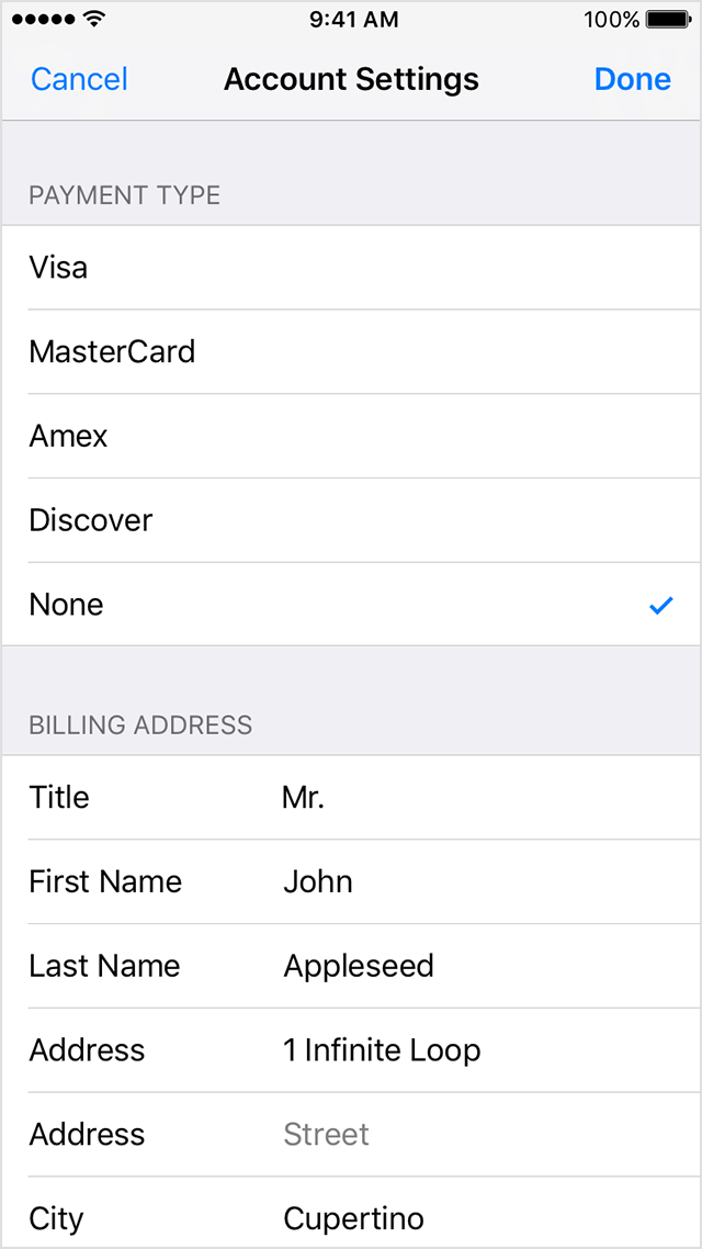 change or remove your information to remove your payment method select none get help if you dont see none or cant select it apple app site association