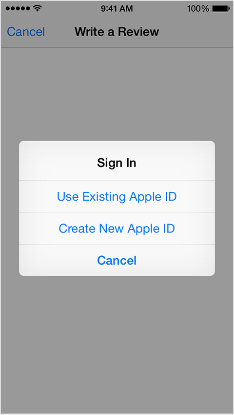 Apple ID signin screen