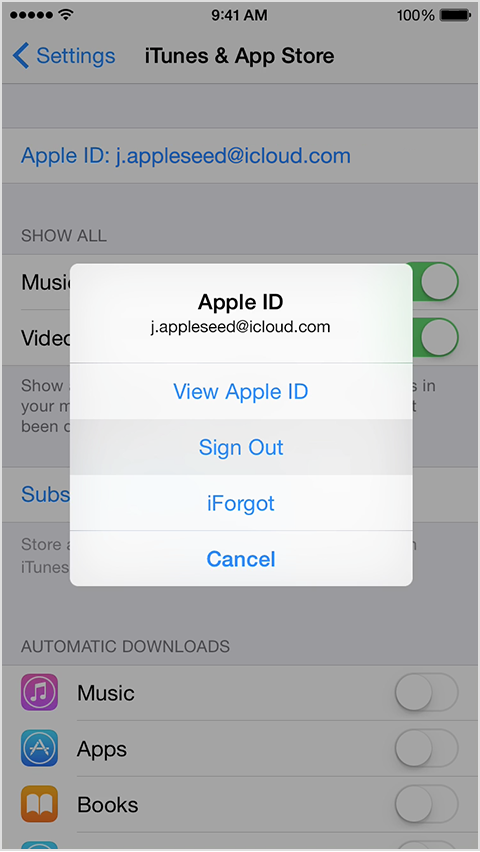 Tap sign out go to settings gt itunes amp app store enter your apple id