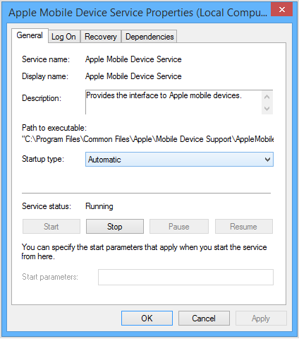 Restart the Apple Mobile Device Service (AMDS) on Windows