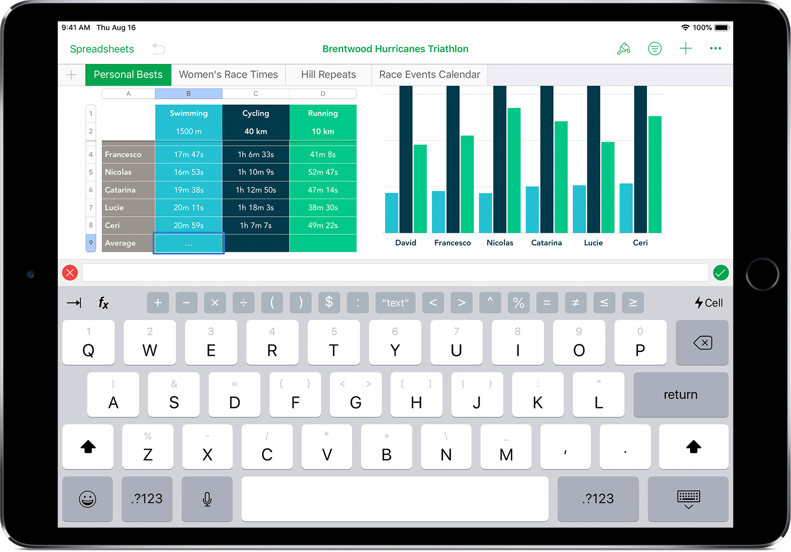 the formula keyboard in Numbers for iPad