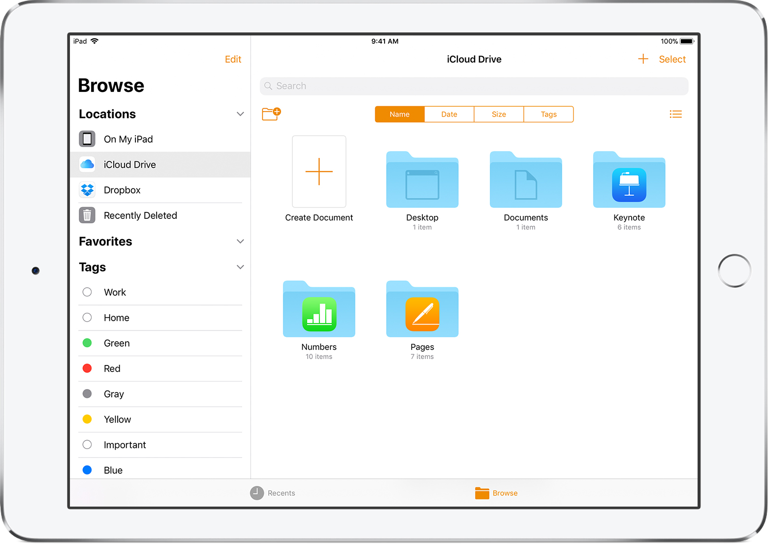 Organize Pages, Numbers, and Keynote documents on iPad