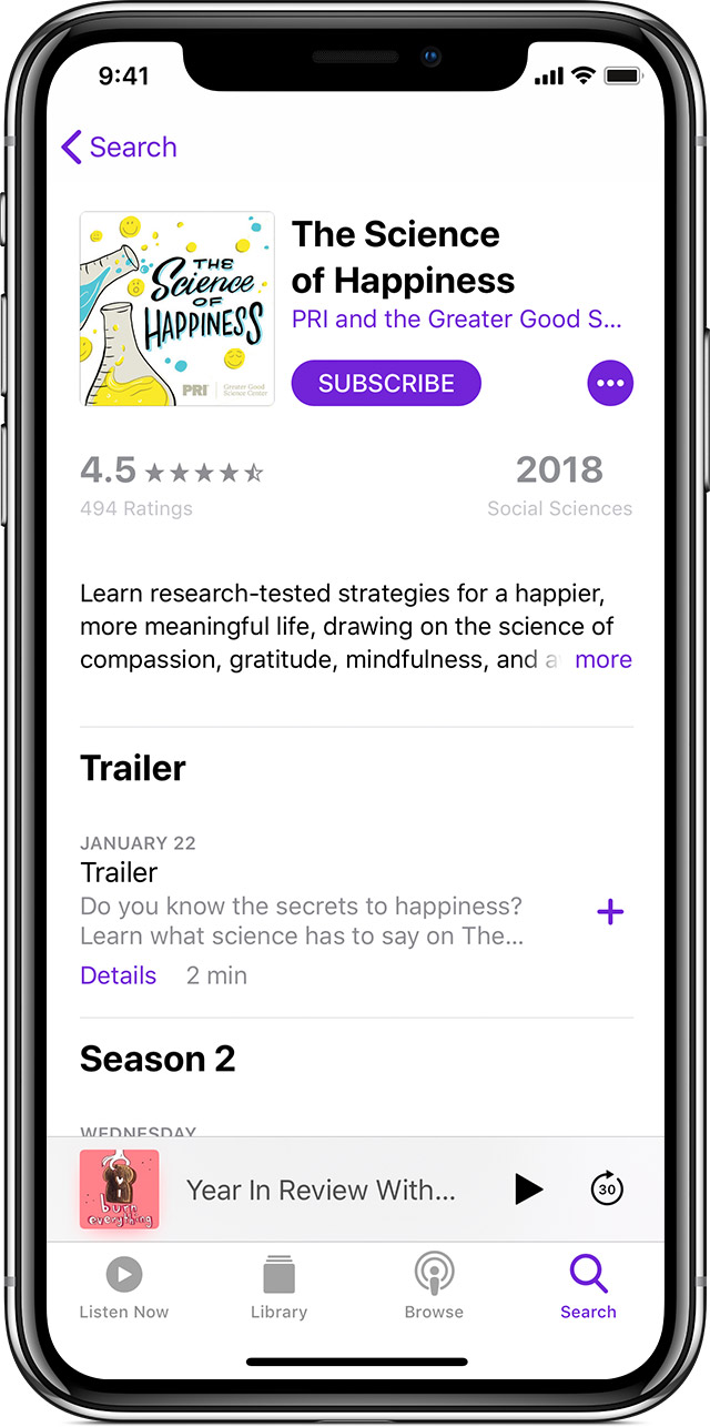 iPhone with Podcasts app open, with The Science of Happiness podcast page displayed