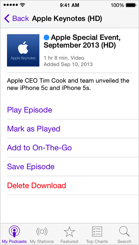 Podcasts mark as played, save or delete