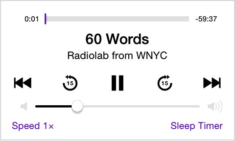 Podcast playback controls