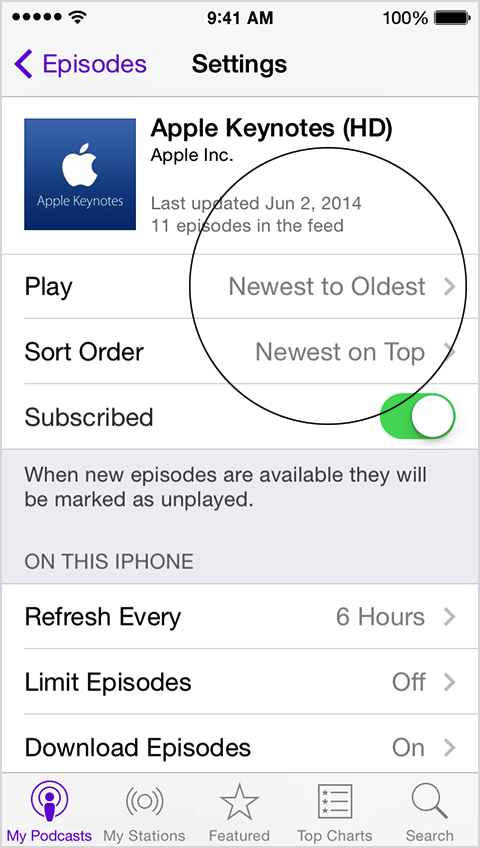 Podcasts playback order