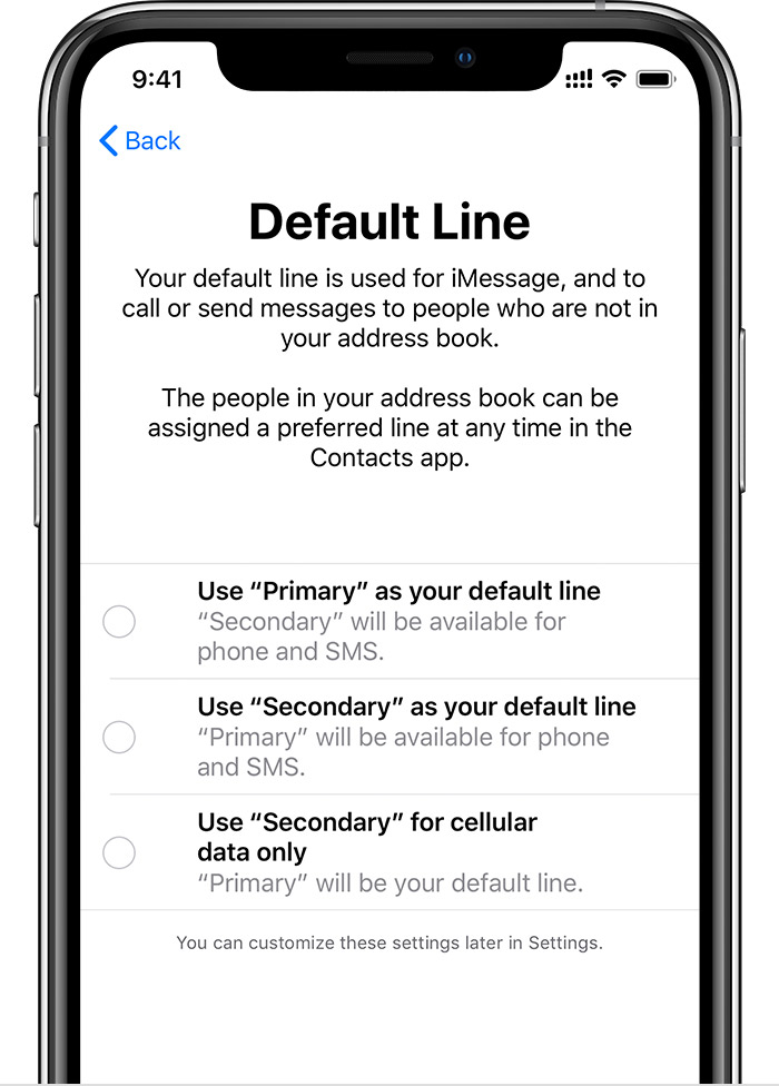 Default Line screen
