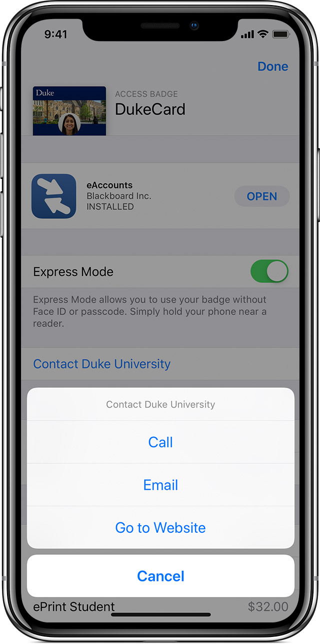 contact your university information in Wallet