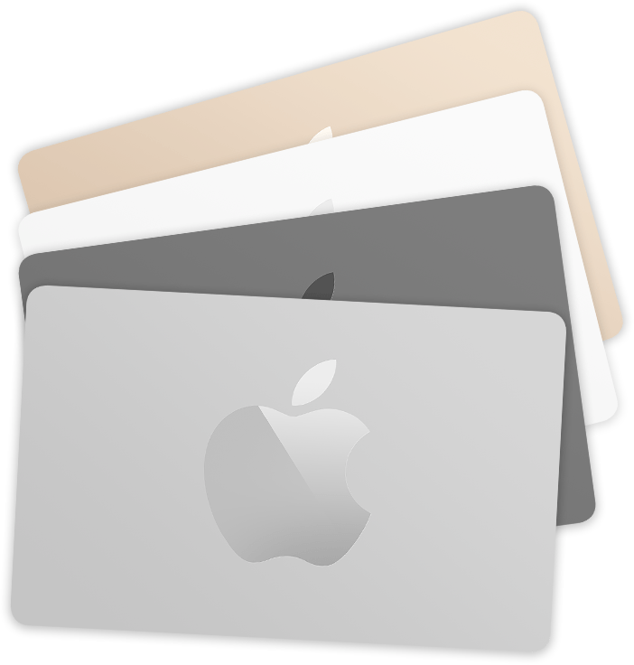 A stack of Apple Store Gift Cards in multiple colors (gold, white, gray, and silver).