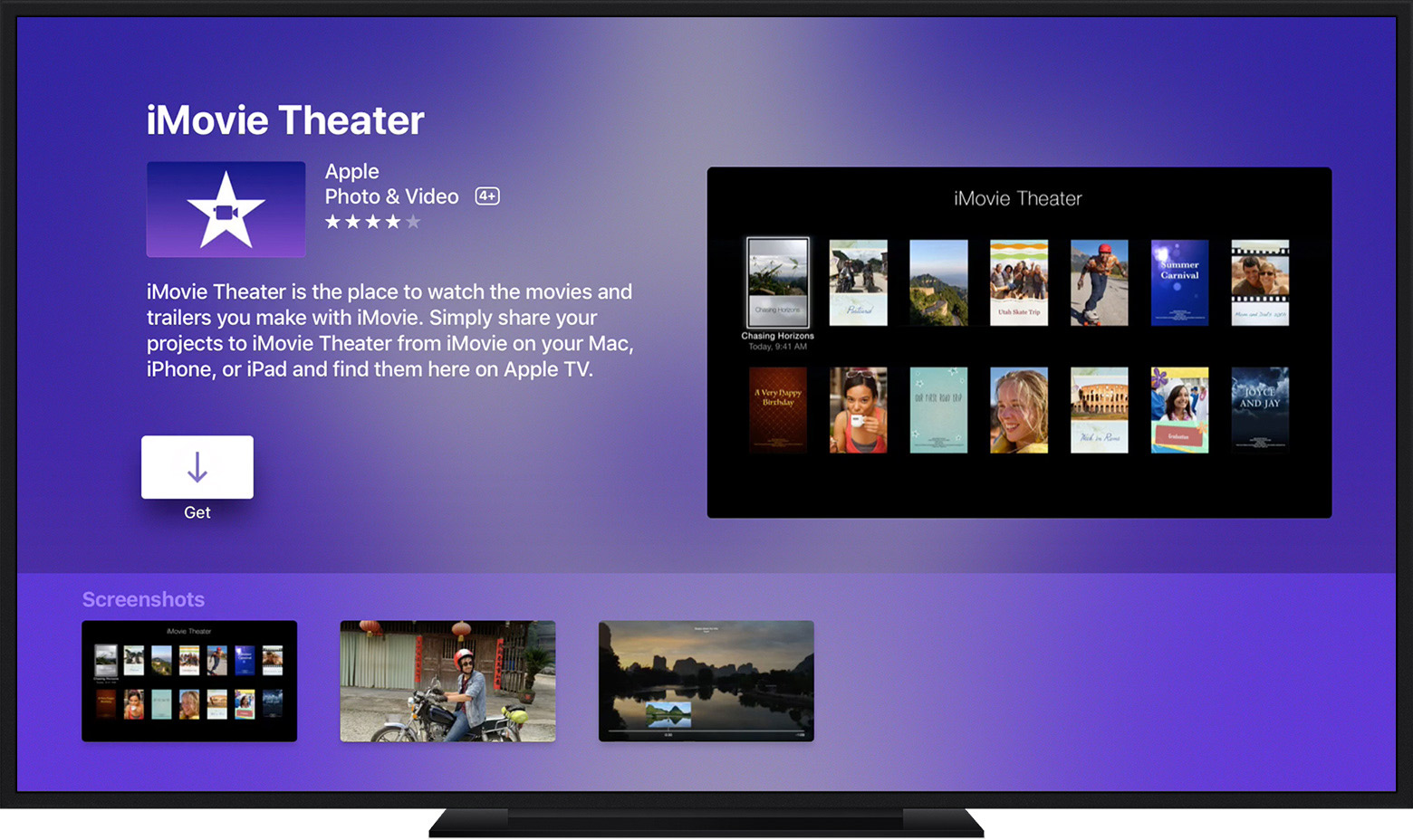 Apple TV showing an app's page.