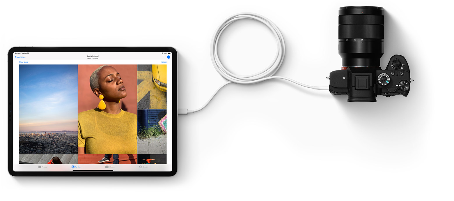 iPad Pro connected to a digital camera via USB-C cable