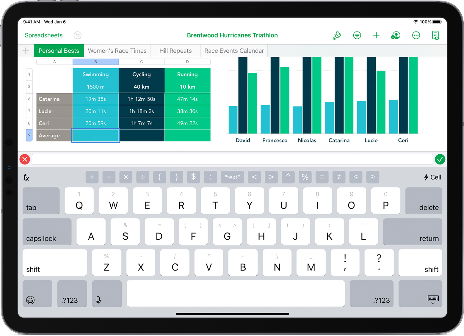 iPad with spreadsheet open and formula keyboard showing