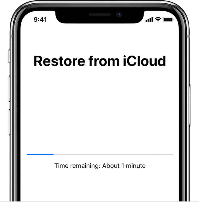 Restore from iCloud screen