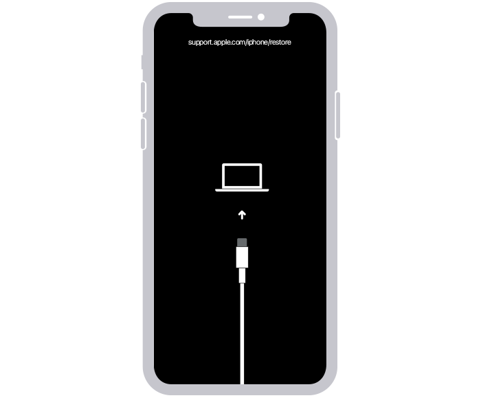 Kurtarma modu ekranını gösteren bir iPhone.