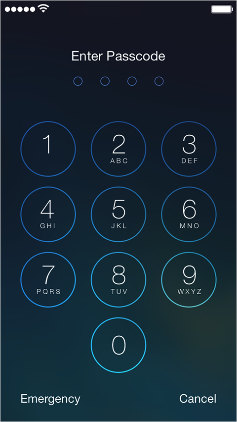 Enter Passcode screen