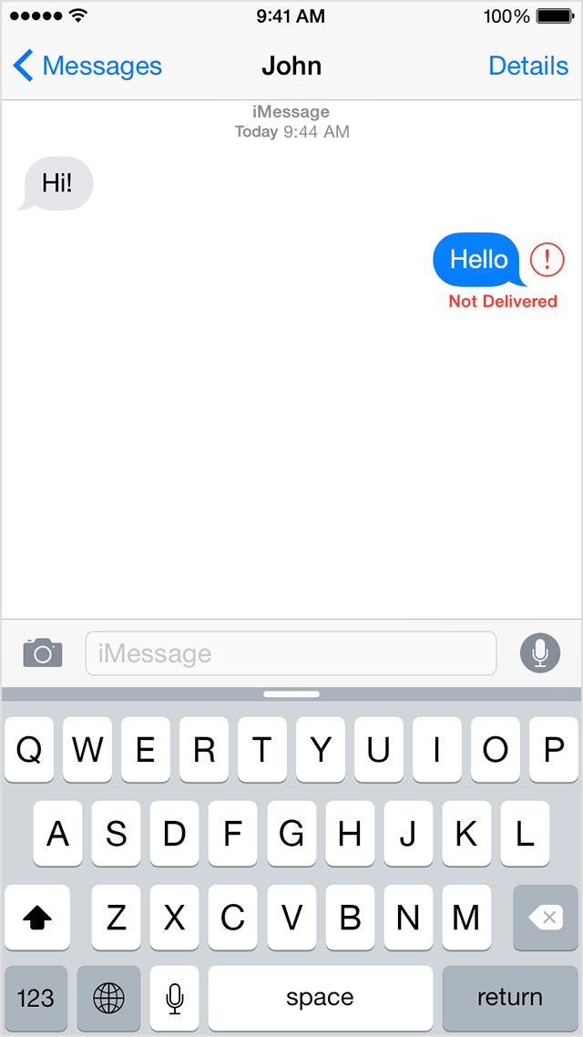 Conversation in Messages showing undelivered message