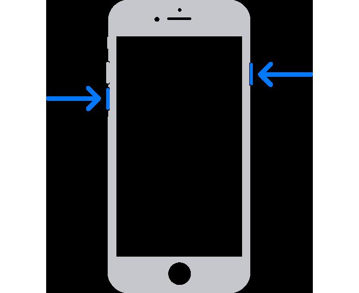 Oklarla yan düğmenin ve sesi kıs düğmesinin gösterildiği bir iPhone.