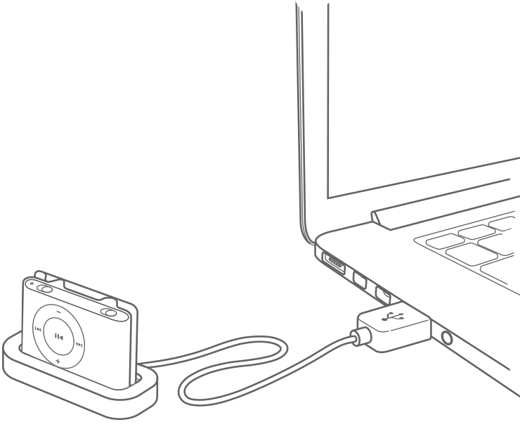 To charge, plug your iPod shuffle into your computer