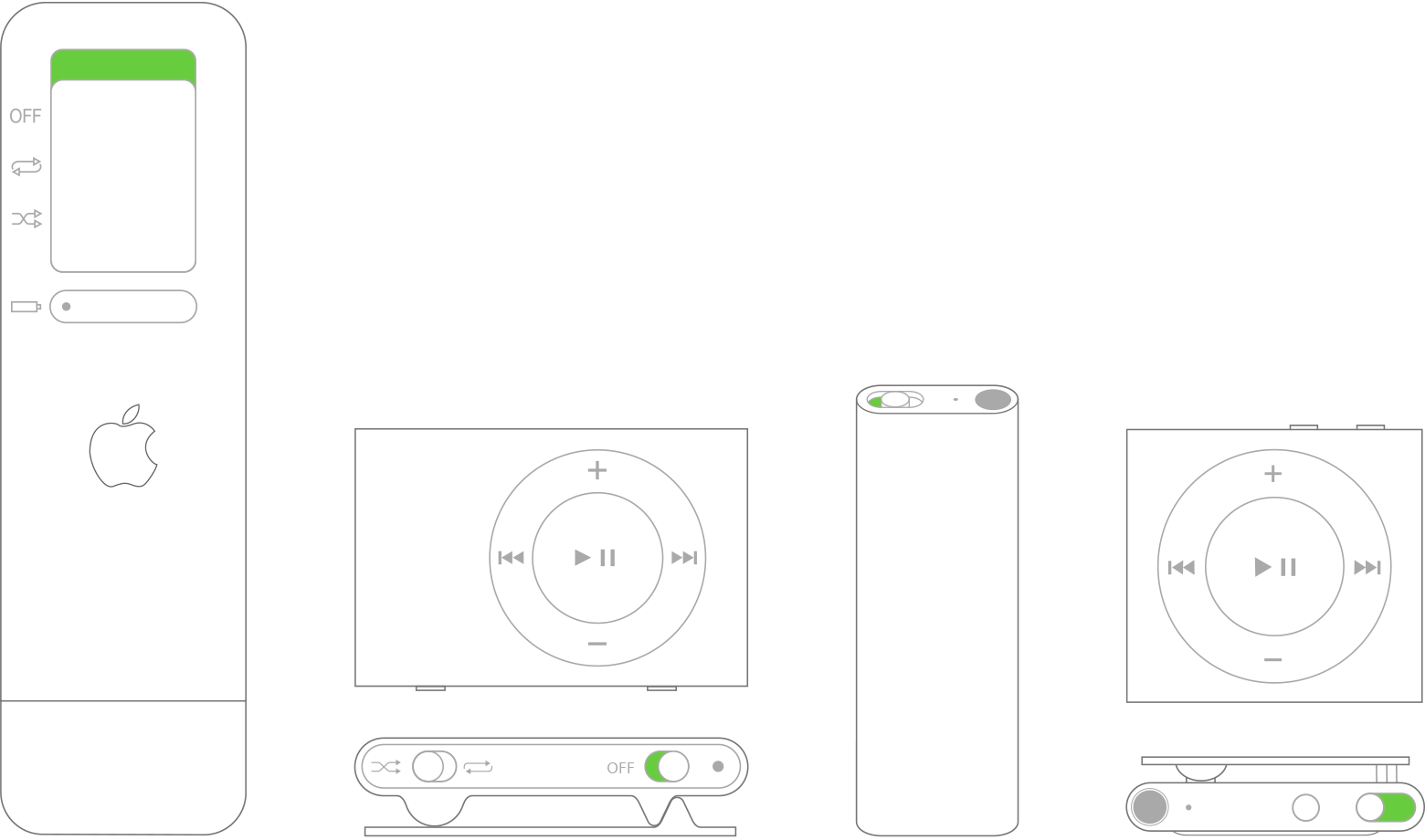 iPod shuffle power switch