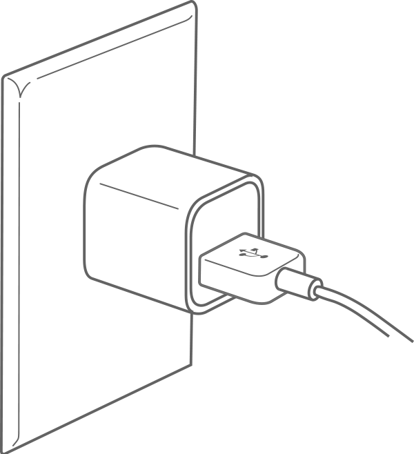 To charge, plug your iPod shuffle into a USB wall adapter
