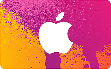 The front of an iTunes Store Gift Card. It's pink, yellow, and orange with a white Apple log on it.
