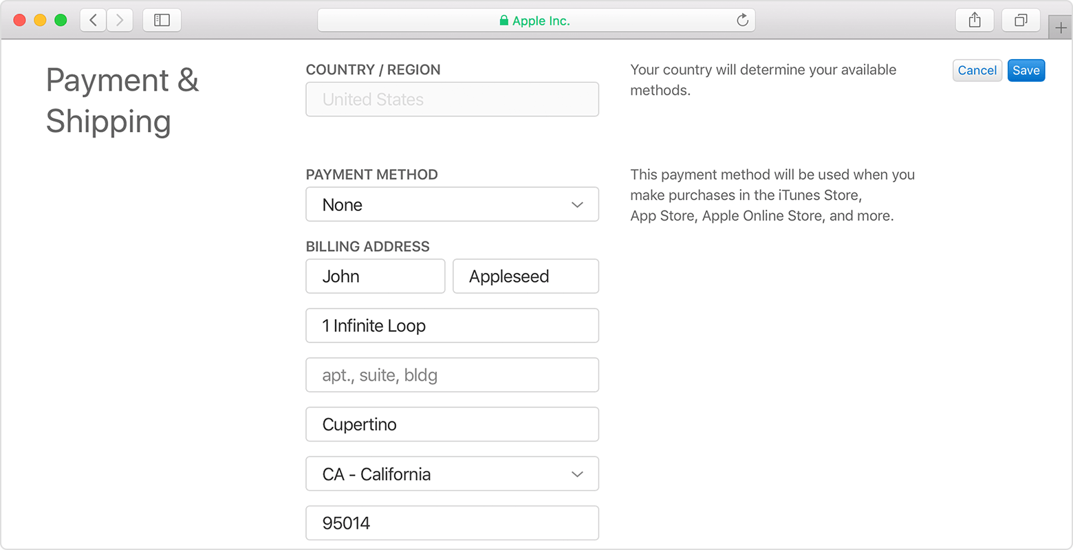 A Safari window showing the Payment and Shipping section of the Apple ID account page. It's being edited to change the payment method to None.