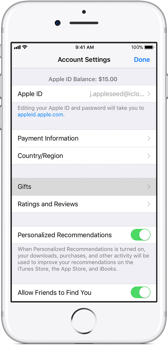 Resend App Store Itunes Gifts Apple Support