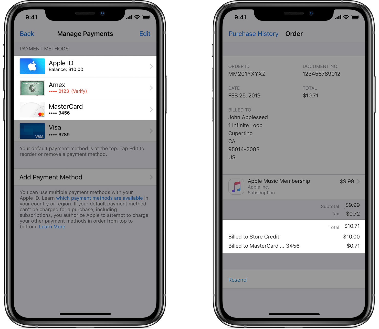 An iPhone showing multiple payment methods, one of which has an error, and an iPhone showing Purchase History with a purchase that was billed to both Apple ID balance and one of the payment methods on file. The primary payment method could not be billed, so the remainder after the Apple ID balance was charged was billed to the second payment method in the list.