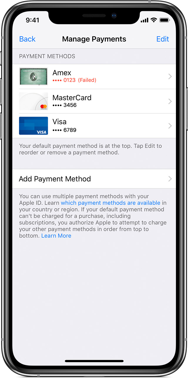 If your payment method is declined in the App Store or iTunes Store