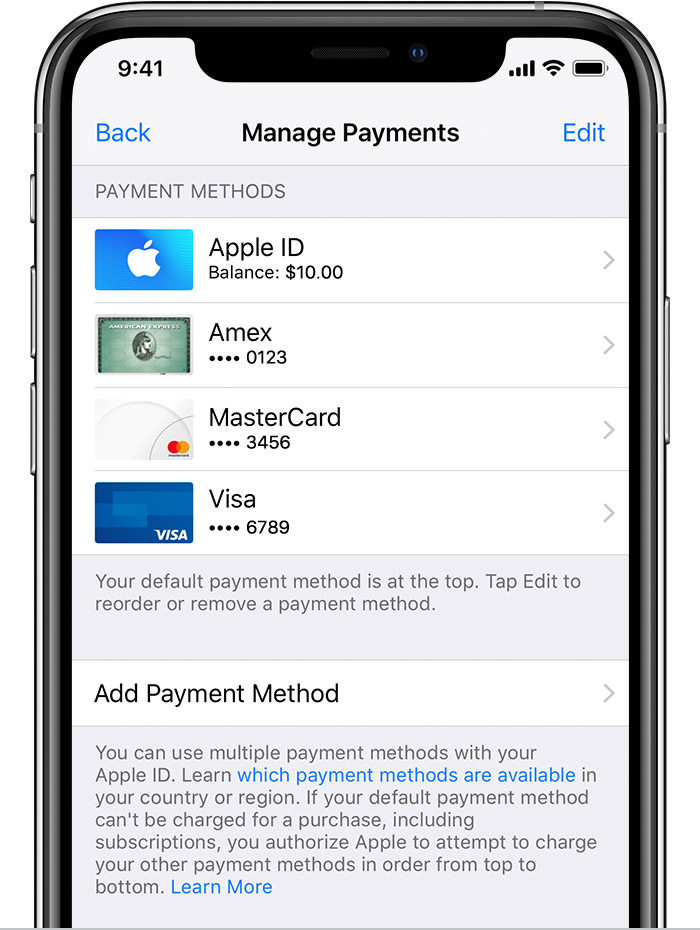 Change, add, or remove Apple ID payment methods - Apple Support