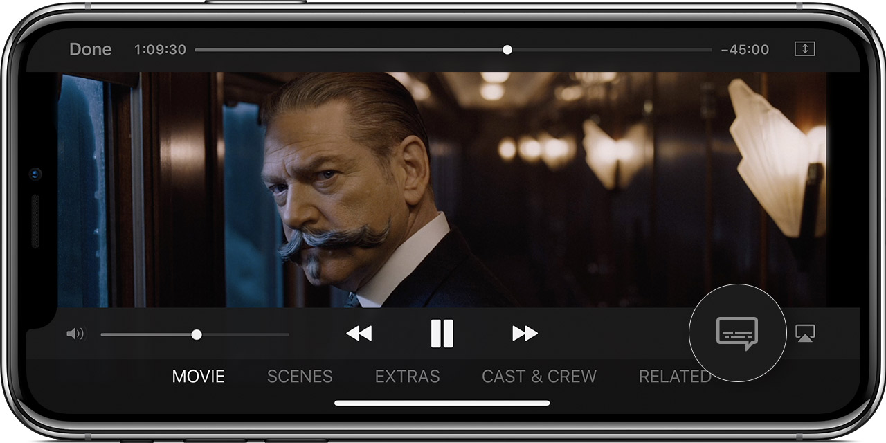 An iPhone X showing the movie Murder on the Orient Express paused. The Audio and Subtitles menu is magnified in the lower-right corner.