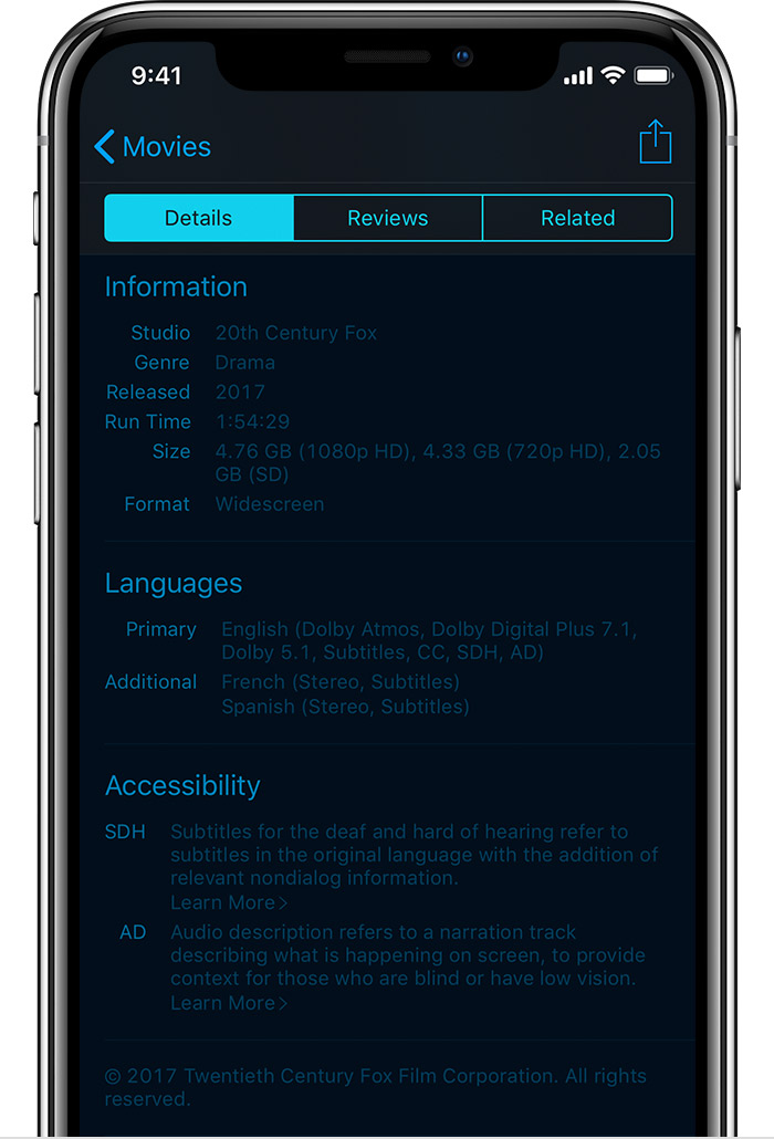 An iPhone X showing the Languages and Accessibility sections of a movie's information page in the iTunes Store.