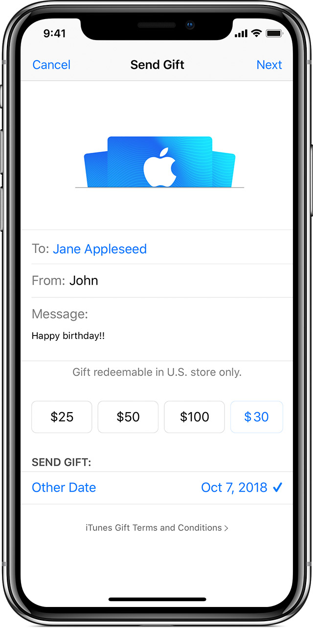 iPhone with Send Gift page open in the App Store app, with a message that