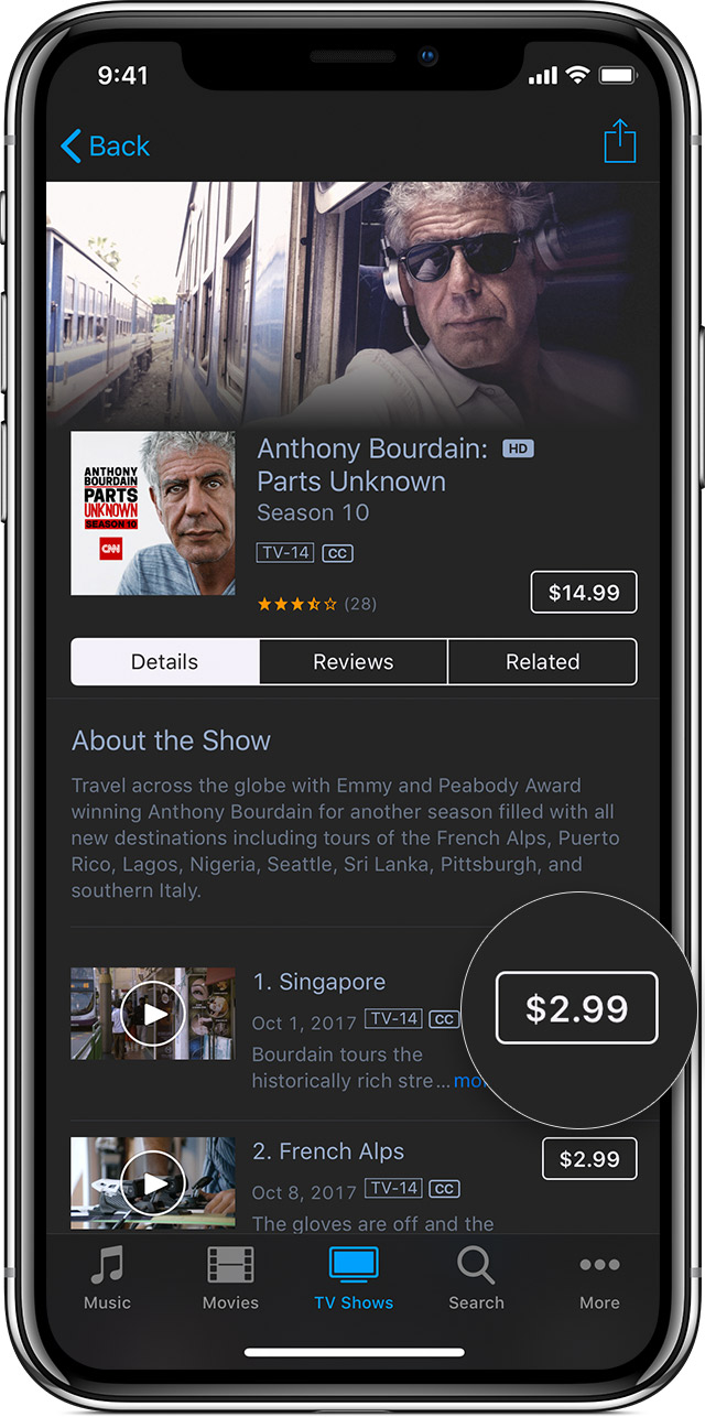 Buy TV episodes from the iTunes Store individually or with a Season