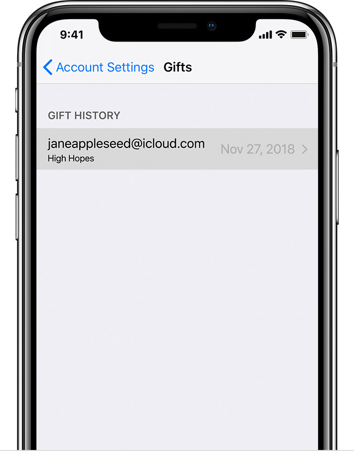 An iPhone X showing sent Gifts. A gift to janeappleseed@icloud.com is selected.