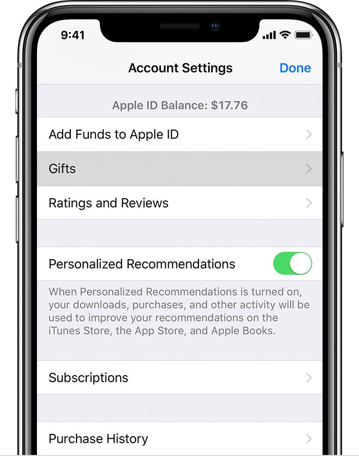 An iPhone X open to Account Settings. The Gifts button is selected.