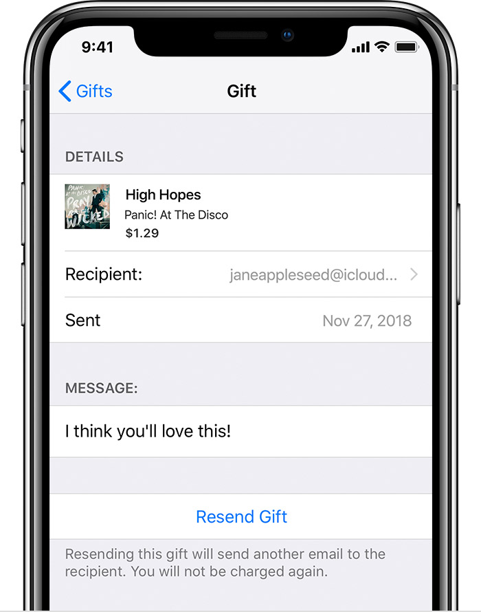 An iPhone X showing the details of a sent Gift.
