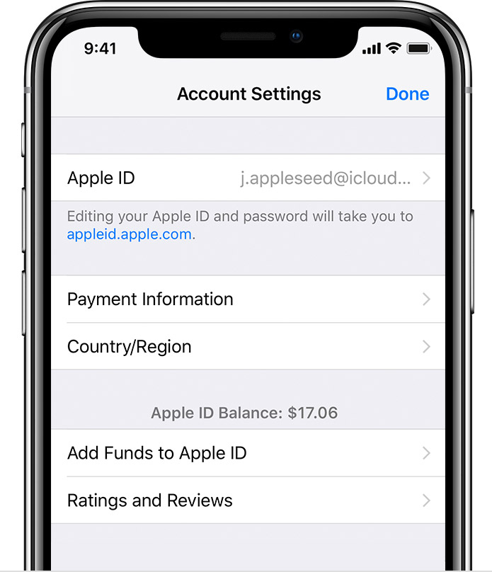 An iPhone X showing the Account Settings screen. There's an Apple ID Balance of $17.06.