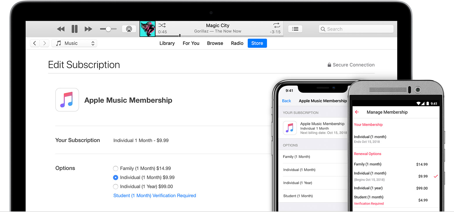 Managing itunes subscriptions