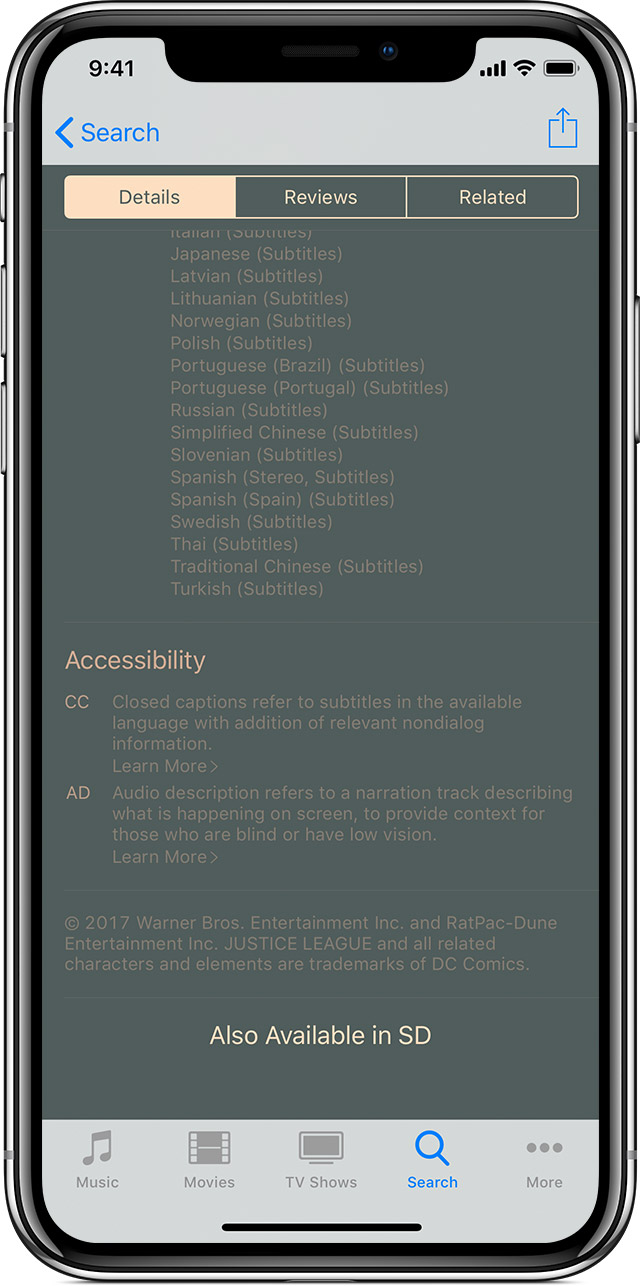 The details tab shows available languages, accessibility features, and more.